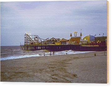 Wood Print featuring the photograph Casino Pier Boardwalk - Seaside Heights Nj by Glenn Feron