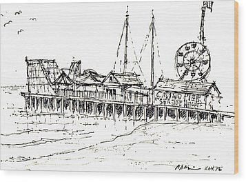 Casino Pier In Seaside Heights Nj Wood Print by Jason Nicholas