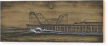 Casino Pier Tribute Wood Print by Ronnie Jackson