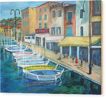 Cassis Waterfront Stroll Wood Print