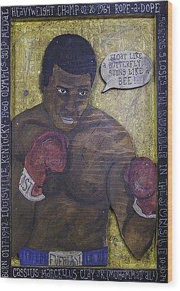 Cassius Clay - Muhammad Ali Wood Print by Eric Cunningham