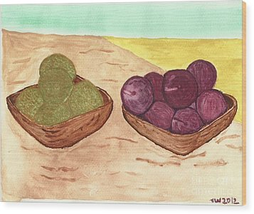 Wood Print featuring the painting Castaway Fruit by Tracey Williams
