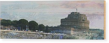 Wood Print featuring the painting Castel Sant'angelo     by Brian Reaves