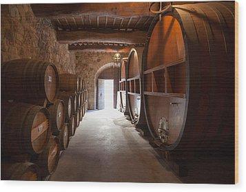 Castelle Di Amorosa Barrel Room Wood Print by Scott Campbell