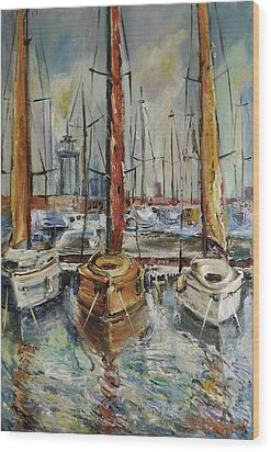 Castellon Boats At Noon Wood Print by Stefano Popovski