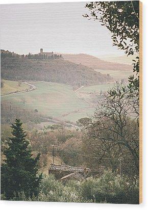 Castelmuzio Sunset Wood Print by Clint Brewer