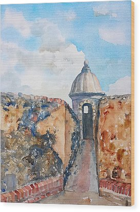 Castillo De San Cristobal Sentry Door Wood Print