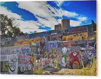 Castle Graffiti Art Wood Print