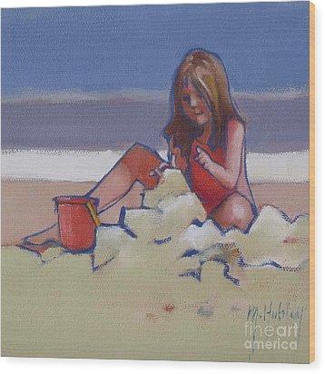 Castle Buiilding Sandcastles On The Beach Wood Print by Mary Hubley
