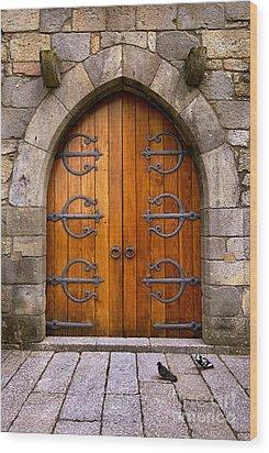 Castle Door Wood Print by Carlos Caetano