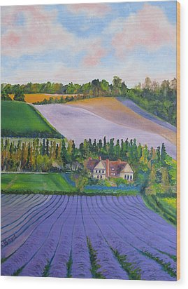 Castle Farm Shoreham Kent Lavender Fields England Wood Print by Lisa Boyd