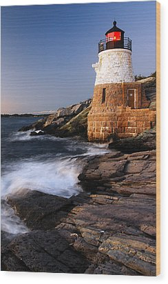 Wood Print featuring the photograph Castle Hill Lighthouse Dusk by James Kirkikis