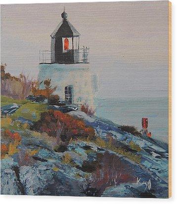 Castle Hill Lighthouse Newport Ri Wood Print by Patty Kay Hall