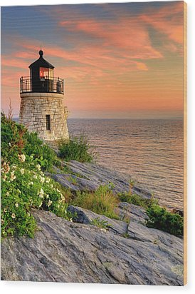 Castle Hill Lighthouse-rhode Island Wood Print by Thomas Schoeller