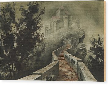 Castle In The Mist Wood Print by Sam Sidders