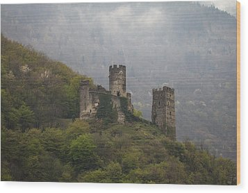 Castle In The Mountains. Wood Print by Clare Bambers
