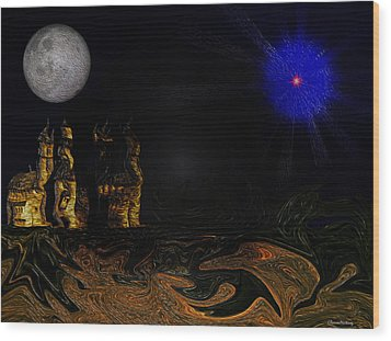 Castle In The Night Wood Print by Ramon Martinez