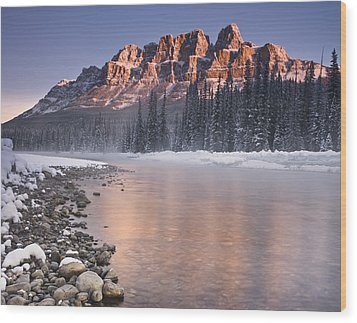Castle Mountain And The Bow River Wood Print