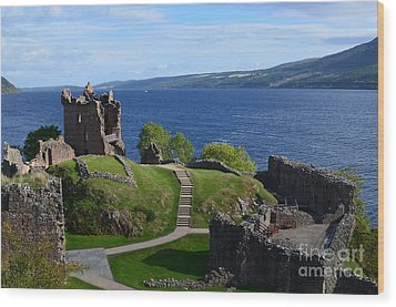 Castle Ruins On Loch Ness Wood Print by DejaVu Designs