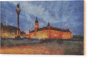 Castle Square In Warsaw Wood Print