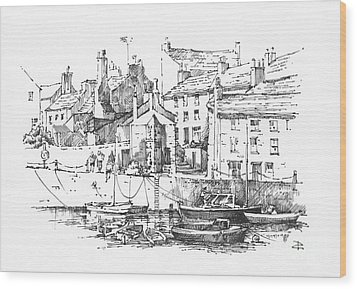 Wood Print featuring the drawing Castletown Harbour by Paul Davenport