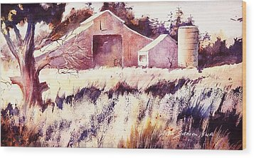 Wood Print featuring the painting Castroville Barn by John  Svenson