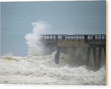 0828 Cat 1 Hurricane Isaac Crashes Into Navarre Beach Pier Wood Print by Jeff at JSJ Photography