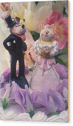 Cat And Dog Bride And Groom Wood Print by Garry Gay