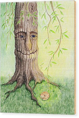 Wood Print featuring the drawing Cat And Great Mother Tree by Keiko Katsuta