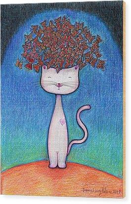 Cat And Monarcas Wood Print by Daniel Levy policar