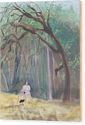 Cat And Reading Man Under A Bay Tree Wood Print by Asha Carolyn Young