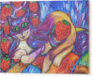 Wood Print featuring the painting Cat And Strawberries by Dianne  Connolly