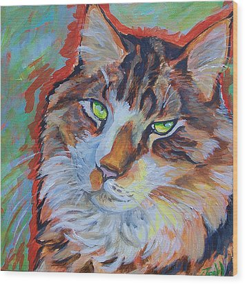 Cat Commission Wood Print by Jenn Cunningham