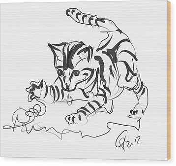 Cat- Cute Kitty  Wood Print by Go Van Kampen