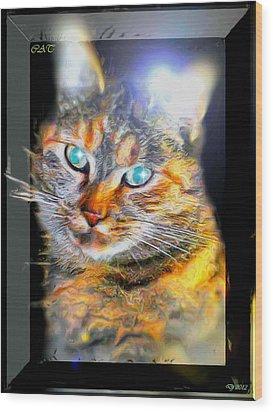 Wood Print featuring the digital art Cat by Daniel Janda
