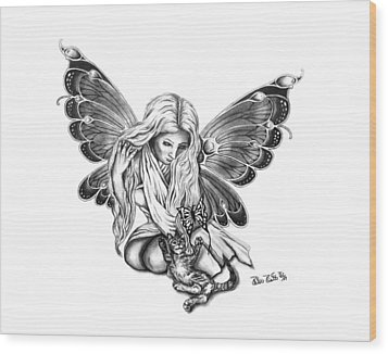 Cat Fairy  Wood Print