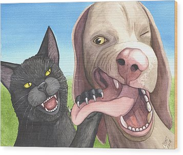 Cat Got Your Tongue Wood Print by Catherine G McElroy