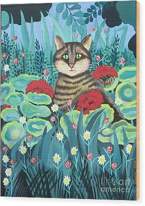 Cat Hiding In The Rainforest Wood Print
