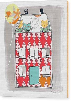 Cat House Wood Print by Linda Woods