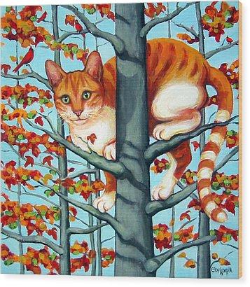 Orange Cat In Tree Autumn Fall Colors Wood Print