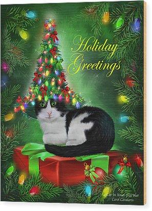 Cat In Christmas Tree Hat Wood Print by Carol Cavalaris