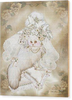 Cat In Fancy Bridal Hat Wood Print by Carol Cavalaris