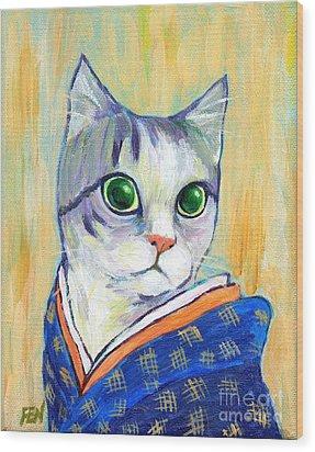cat in kimono of Ukiyoe style Wood Print by Jingfen Hwu