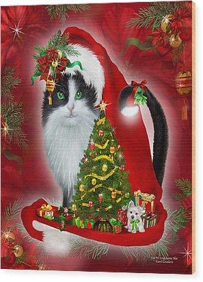 Cat In Long Santa Hat Wood Print by Carol Cavalaris