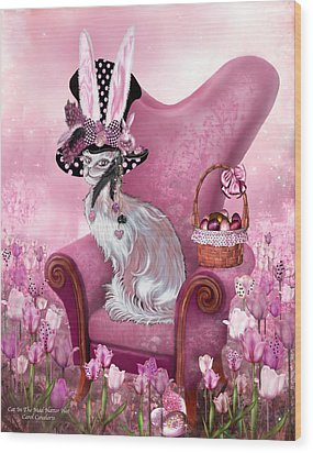 Cat In Mad Hatter Hat Wood Print by Carol Cavalaris
