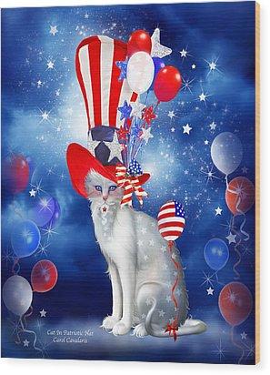 Cat In Patriotic Hat Wood Print by Carol Cavalaris