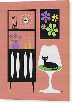 Cat In Pink Room Wood Print by Donna Mibus