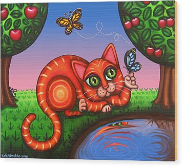 Cat In Reflection Wood Print by Victoria De Almeida