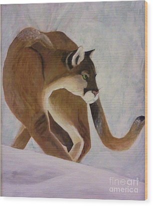 Wood Print featuring the painting Cat In Snow by Christy Saunders Church