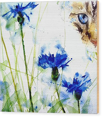 Cat In The Cornflowers Wood Print by Paul Lovering
